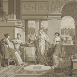 French grisaille scenic wallpaper panel Psyché